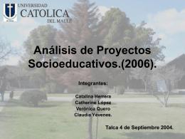 ANÁLISIS DE PROYECTOS SOCIOEDUCATIVOS.