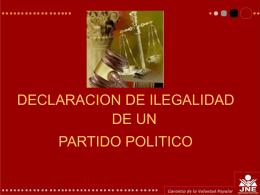 Declaración de ilegalidad de un Partido Político