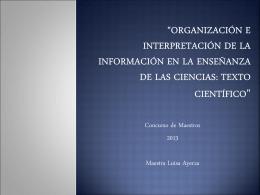 """""""Organización e interpretación de la información en la enseñanza"""
