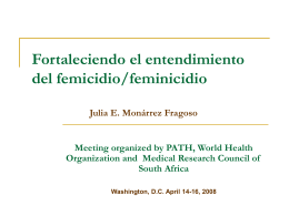 Strengthening Understanding on Femicide/Feminicide
