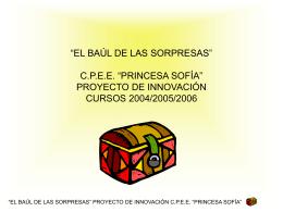 """PORTADA: TÍTULO: """"EL BAÚL DE LAS SORPRESAS"""" C.P.E.E."""