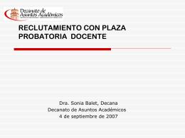 Reclutamiento y Contratación 2006, Dra. Sonia Balet