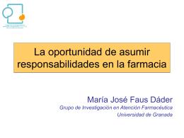Ponencia: La oportunidad de asumir responsabilidades en la farmacia