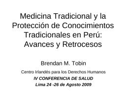 Proteccion de Conocimientos Tradicionales en Peru