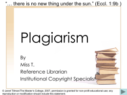 Plagiarism - The Masters College