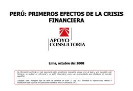Perú: primeros efectos de la crisis financiera