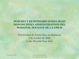 deberes y responsabilidades bajo disposiciones administrativas