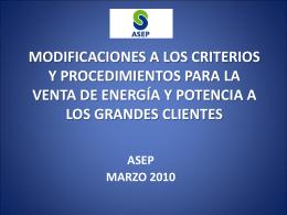 modificaciones a los criterios y procedimientos para la venta