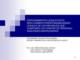 Procedimientos en el Reclutamiento, Lcdo. Phillip A. Escoriaza