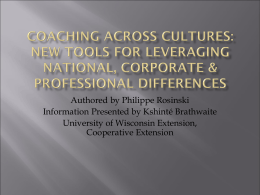 Coaching Across Cultures - University of Wisconsin