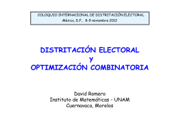 Distritación Electoral y optimización combinatoria