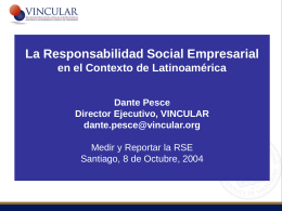 presentación Sr. Dante Pesce, Director Ejecutivo VINCULAR