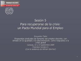 Para recuperarse de la crisis: un Pacto Mundial para el Empleo (PME)
