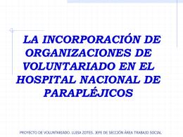 la incorporación de organizaciones de voluntariado en el hspital