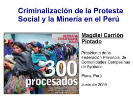 Protesta social y mineria en Peru