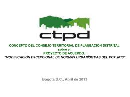 Presentación_Concepto CTPD_MePOT 2013 CONCEJO