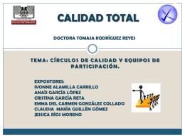CÍRCULOS DE CALIDAD Y EQUIPOS DE PARTICIPACIÓN