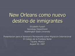 New Orleans as a New Migrant Destination
