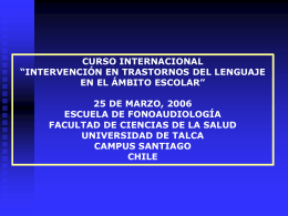 Barrera - Magíster Trastornos del Lenguaje:. Universidad de Talca