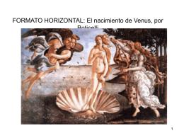 FORMATO HORIZONTAL: El nacimiento de Venus, por Boticelli