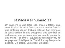 La nada y el número 33