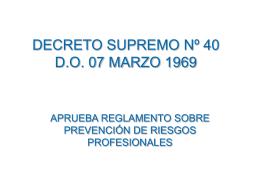 decreto supremo nº 40 do 07 marzo 1969