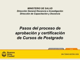 Pasos del proceso de aprobación y certificación de Cursos de