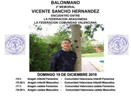 II MEMORIAL VICENTE SANCHO HERNADEZ AGRADECIMIENTO