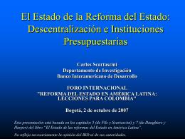"""""""REFORMA DEL ESTADO EN AMÉRICA LATINA: LECCIONES"""