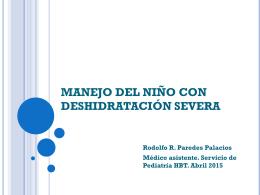 """MANEJO DE DESHIDRATACIÃ""""N SEVERA EN PEDIATRÃ A 2015"""