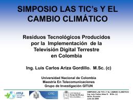 SIMPOSIO LAS TIC`s Y EL CAMBIO CLIMÁTICO Residuos