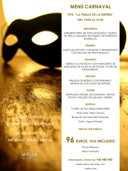 menú carnaval - Melia Hotels & Resorts