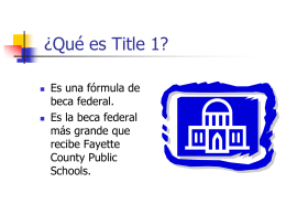 What is Title 1? - Bryan Station Middle School
