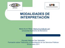 Modalidades de interpretación - Universitat Autònoma de Barcelona