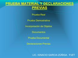 PRUEBA MATERIAL Y DECLARACIONES PREVIAS