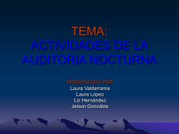TEMA: ACTIVIDADES DE LA AUDITORIA NOCTURNA