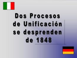 Procesos de Unificación 1848 – Italia y Alemania
