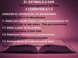 EL ESTIMULO A DAR 2 CORINTIOS 8:1-5