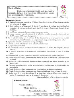 Reglamento - Posada Sarita