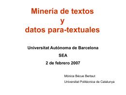 ANÁLISIS ESTADÍSTICO DE TEXTOS Mónica Bécue Universitat