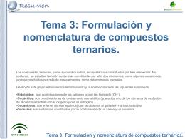 Tema 3. Formulación y nomenclatura de compuestos