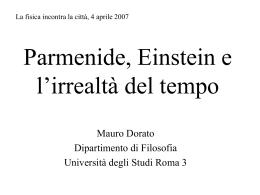 Parmenide Einstein e l`irrealtà del tempo