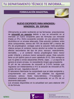 Minoxidil en espuma. Centro Andaluz de Farmacovigilancia