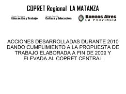 Resumen de acciones 2010 - Copret Regional La Matanza