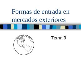 Formas de entrada en mercados exteriores