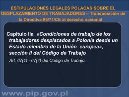 ESTIPULACIONES LEGALES POLACAS SOBRE EL