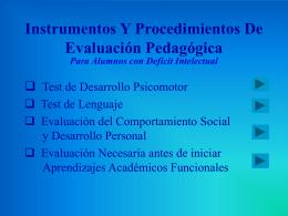 Instrumentos Y Procedimientos De Evaluación Psicopedagógica