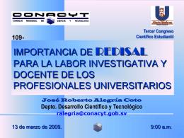 Importancia de REDISAL para la labor Investigativa y Docente de