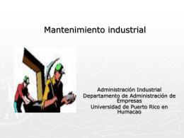 Mantenimiento industrial - Universidad de Puerto Rico Humacao