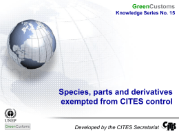 Species exempt from CITES control